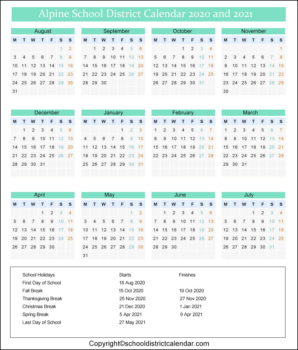 Alpine School District Calendar 2021-2022 April Holidays 2021 School | Anexa Wild