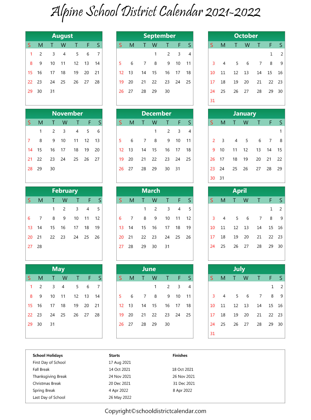 Alpine School District Calendar 2021-22