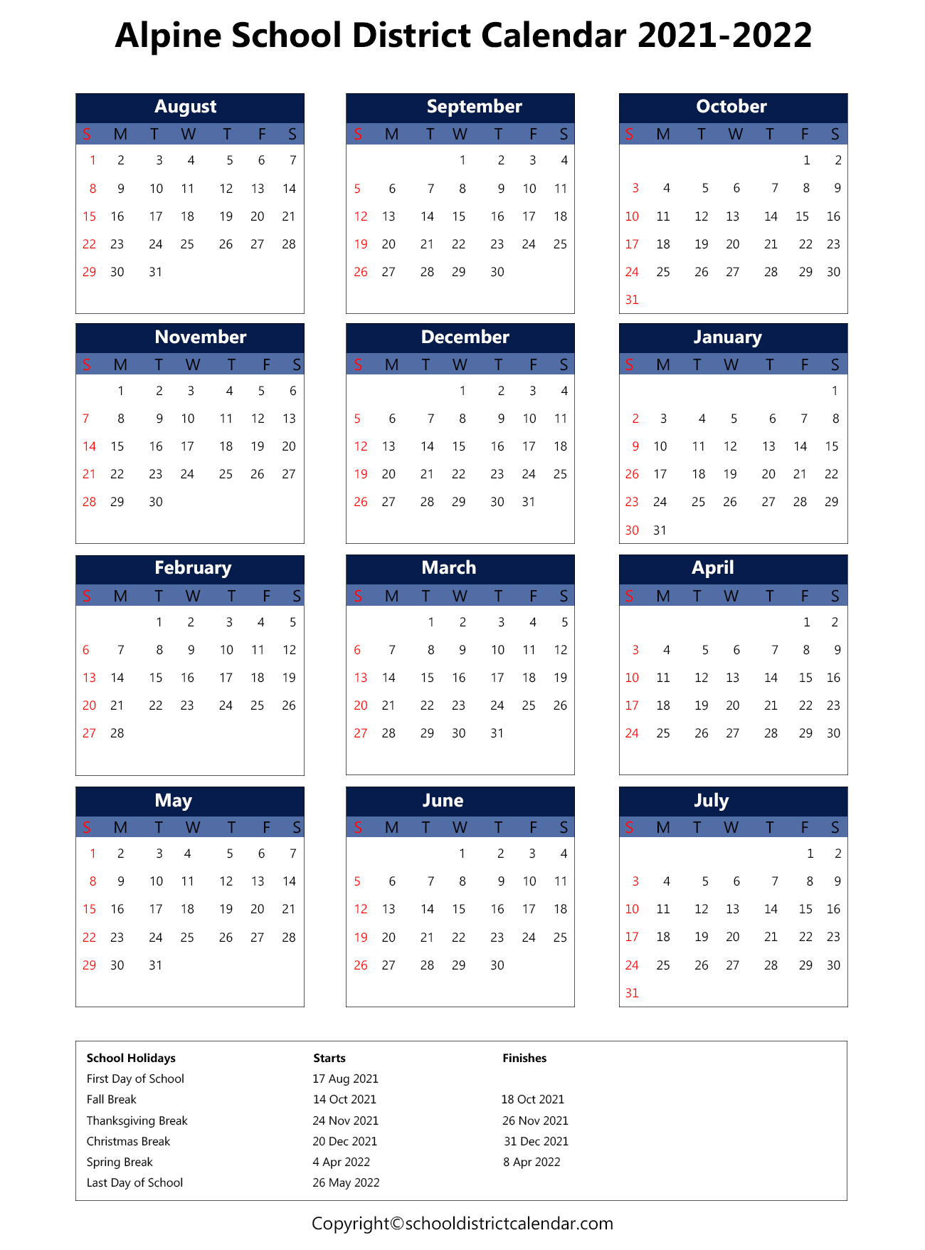 Alpine School District Calendar 2021