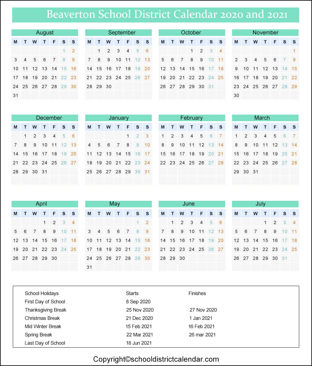 Beaverton School District Calendar 2020