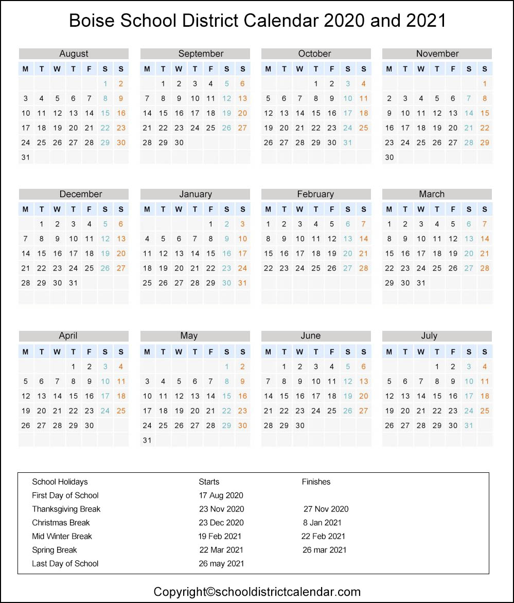 Boise School District Calendar 2021 Boise School District Calendar Holidays 2020 2021