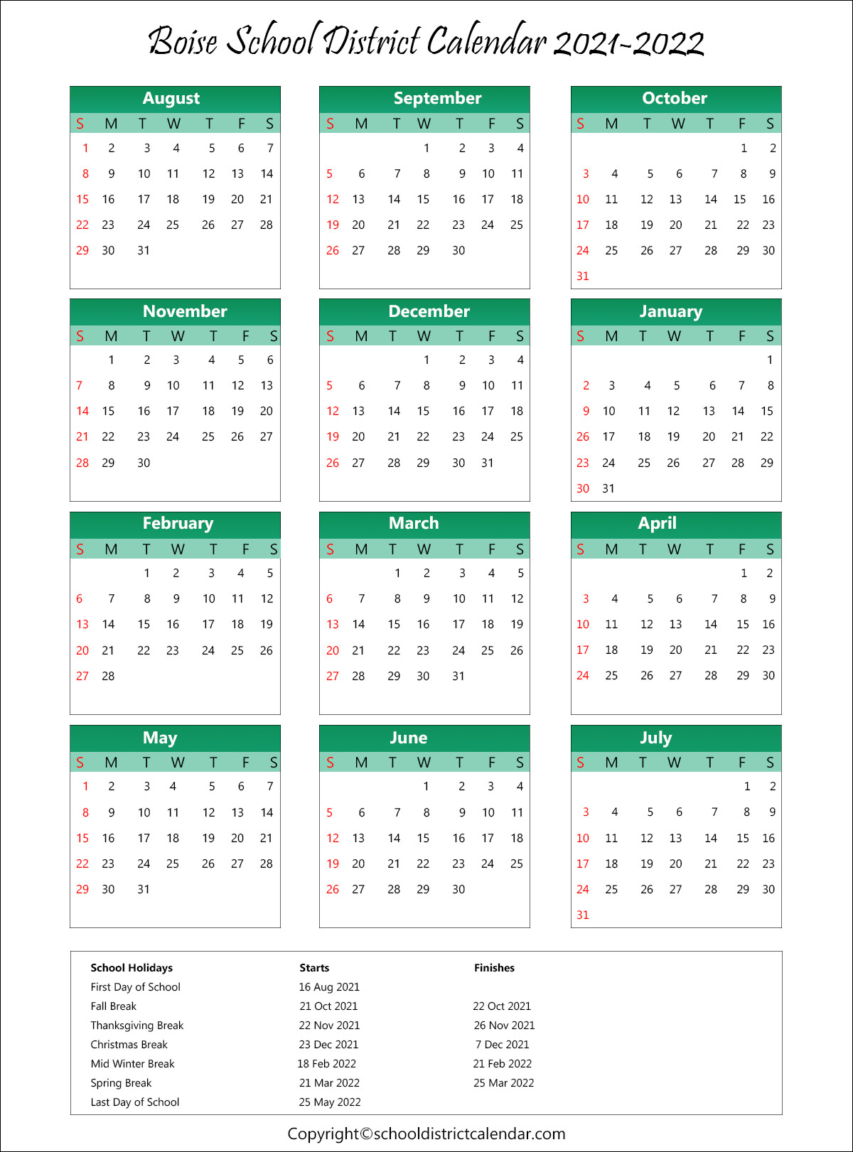 Boise School District, Idaho Calendar Holidays 2021