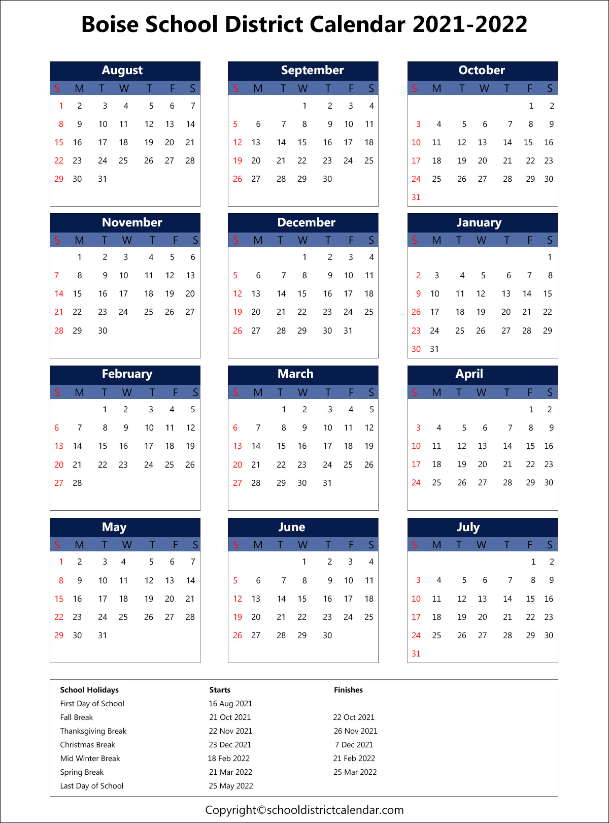 Boise School District Calendar 2021