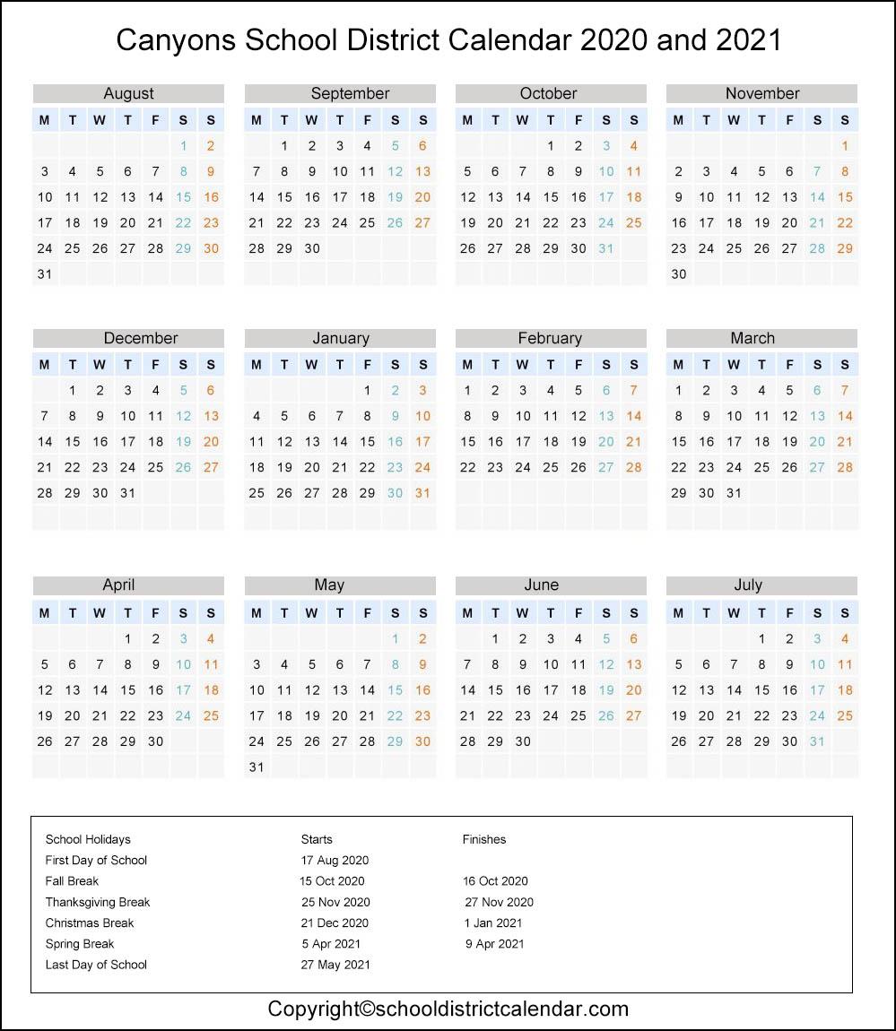Canyons School District, Utah Calendar Holidays 2020
