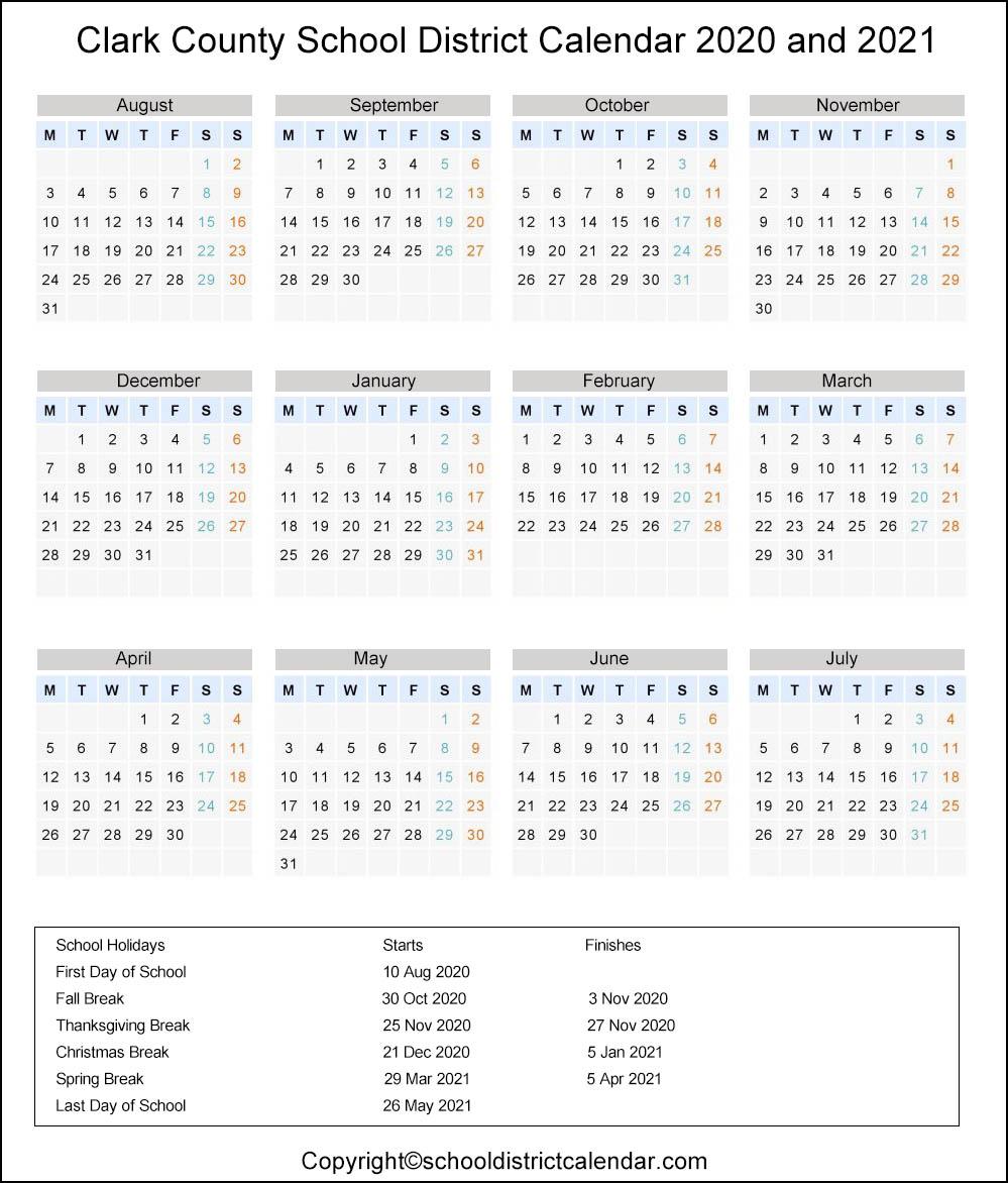 Clark School District Calendar Holidays 2020 2021