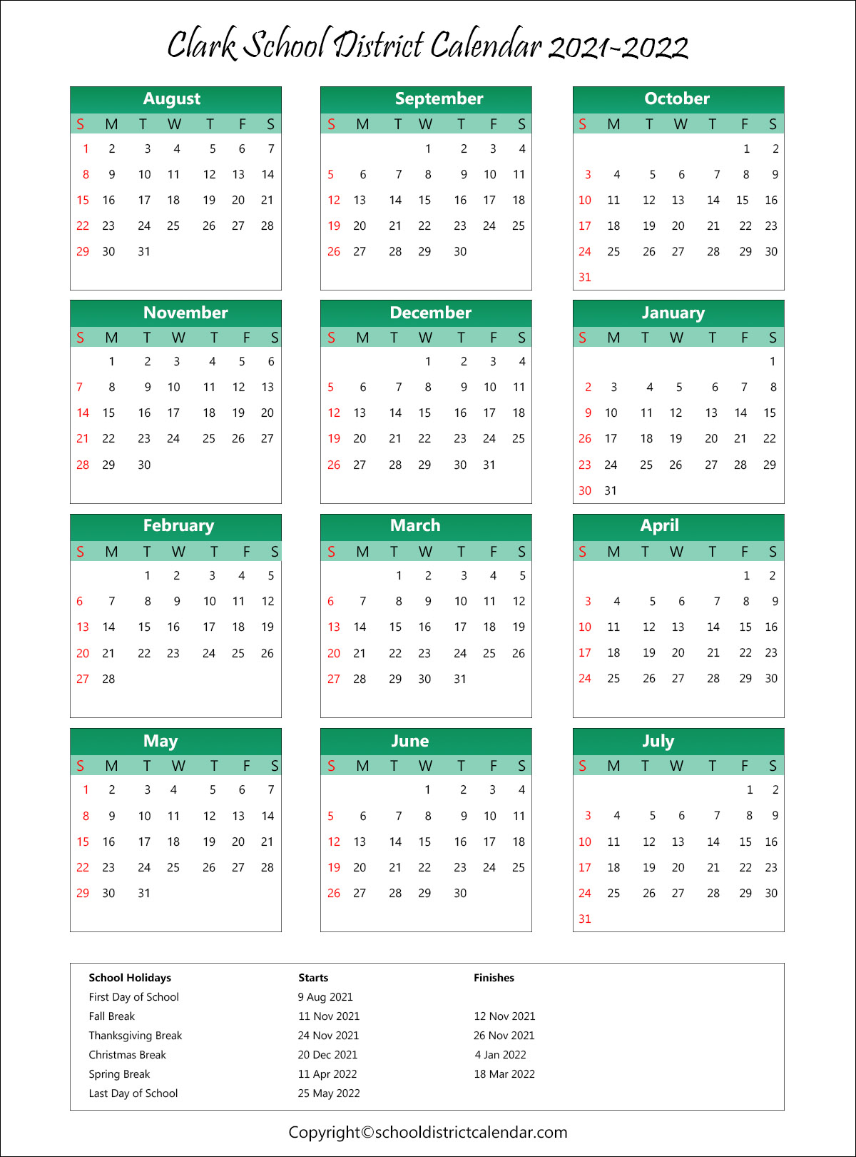 Clark School District, New Jersey Calendar Holidays 2021