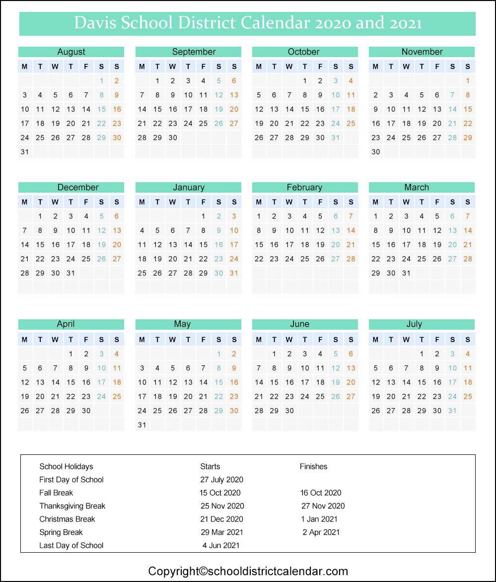 Davis School District Calendar 2020