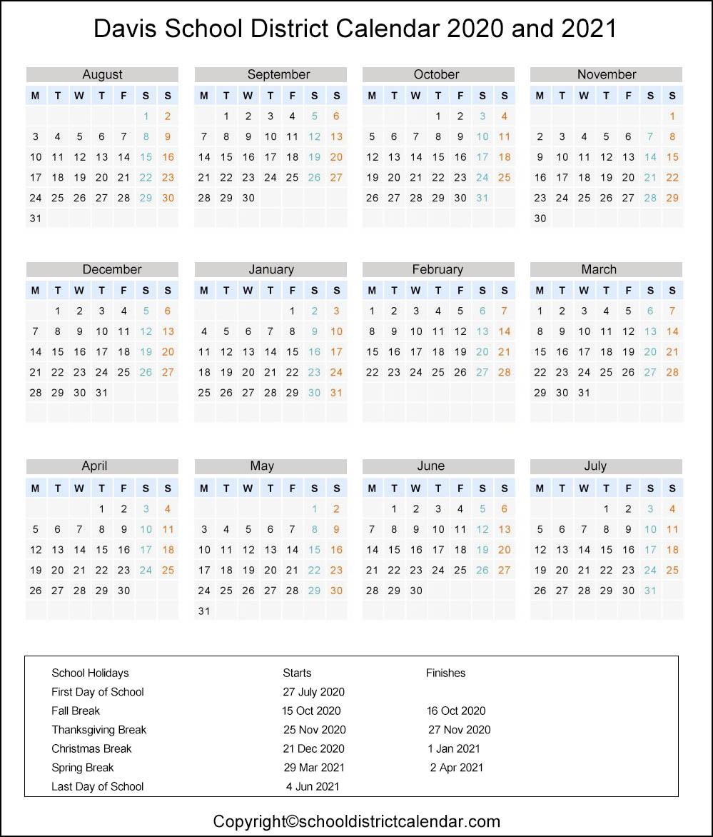DavisSchool District Calendar Holidays 2020