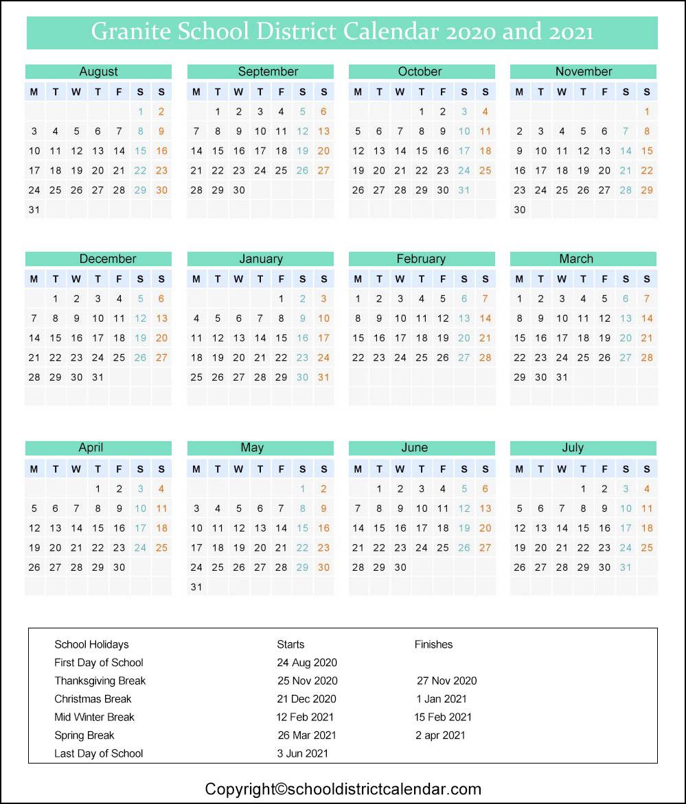 Granite School District Calendar 2020