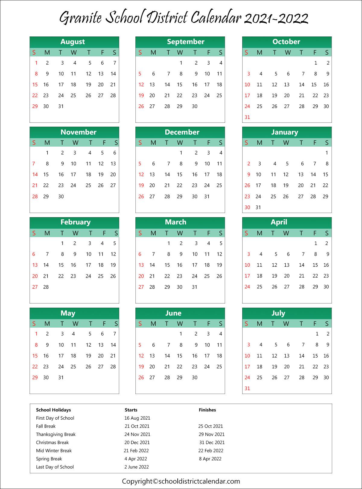 Granite School District, Utah Calendar Holidays 2021