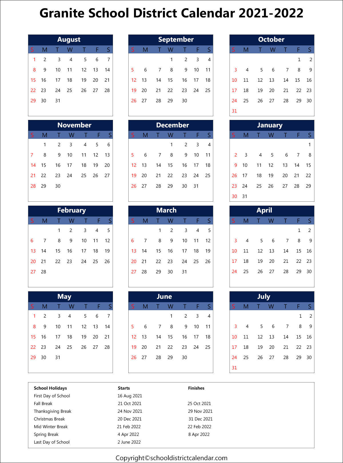 Granite School District Calendar 2021
