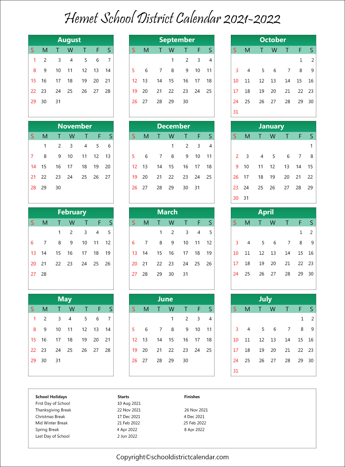 Hemet Unified School District, Hemet Calendar Holidays 2021
