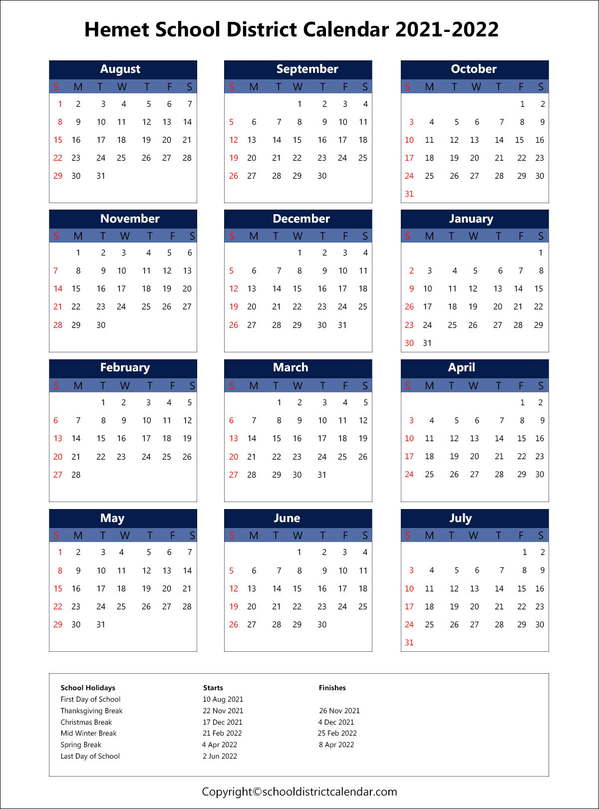 Hemet Unified School District Calendar 2021