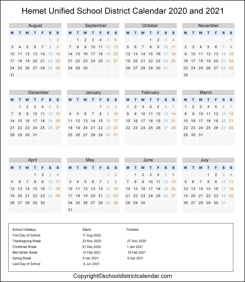 Hemet Unified School District, Hemet Calendar Holidays 2020