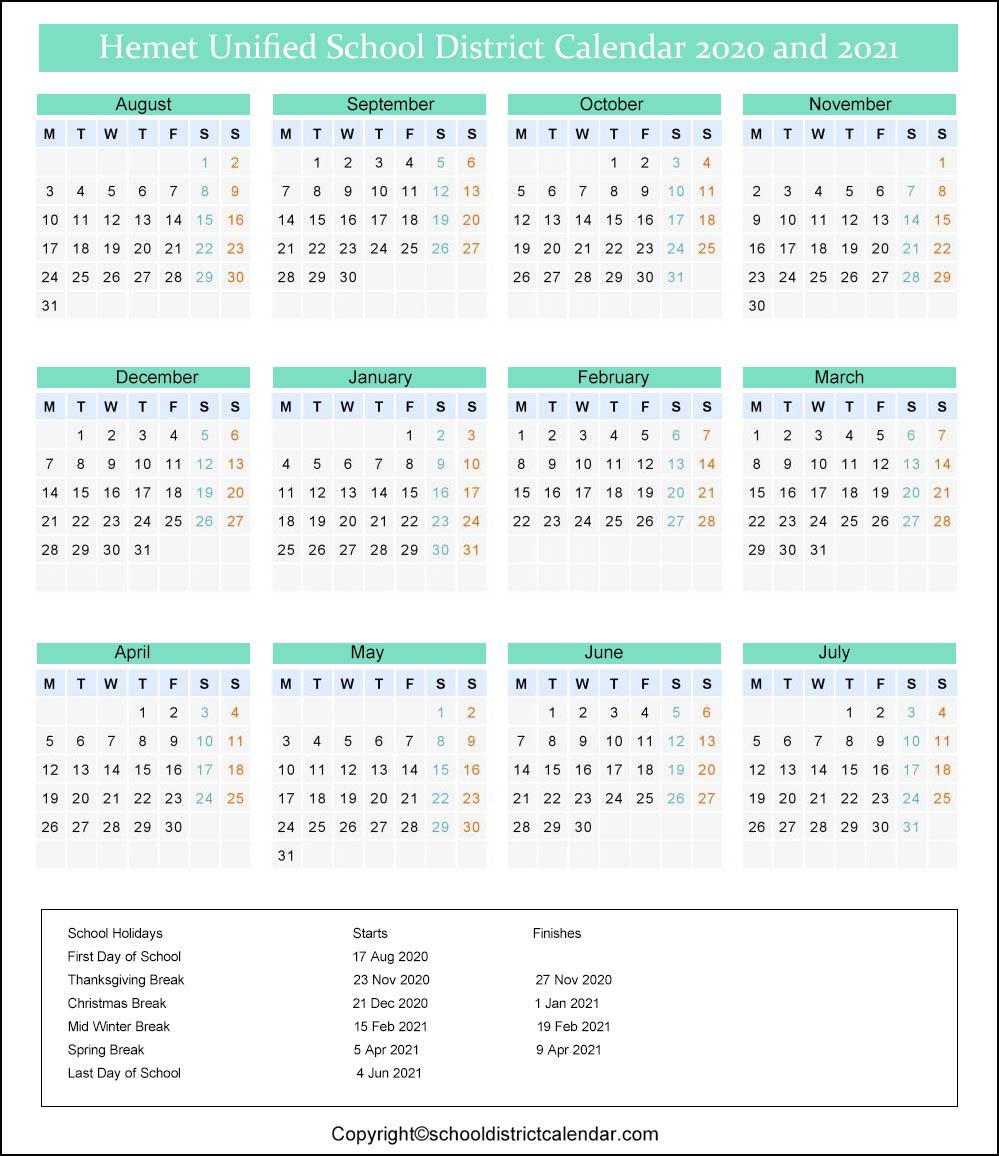 Hemet Unified School District Calendar 2020