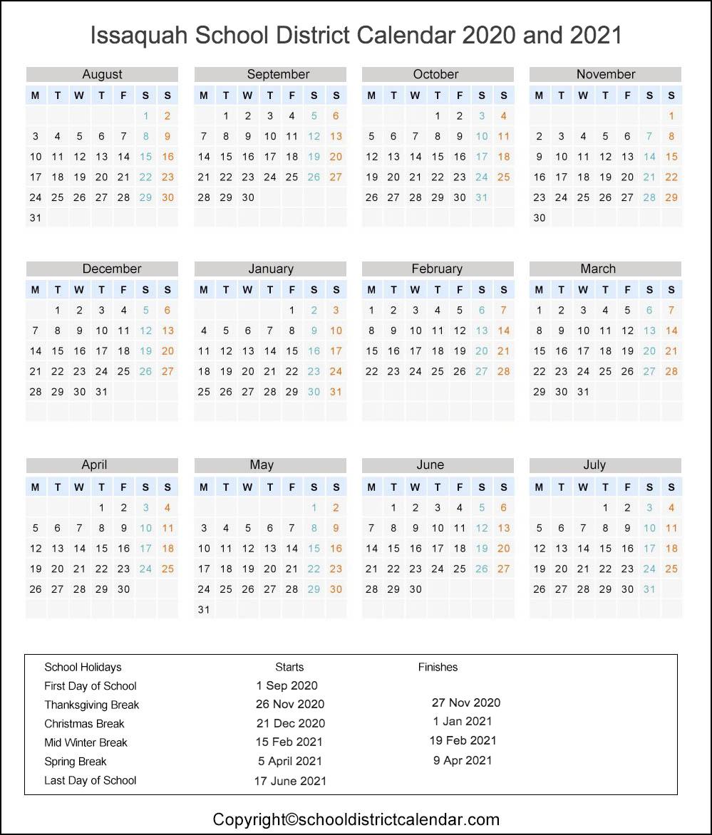 Issaquah School District, Washington Calendar Holidays 2020