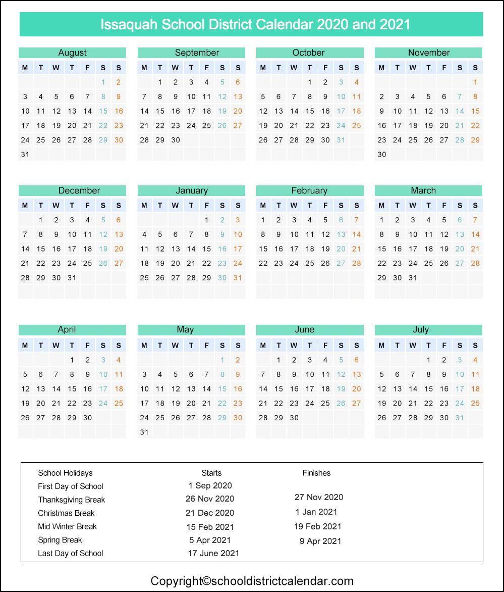 Issaquah School District Calendar 2020
