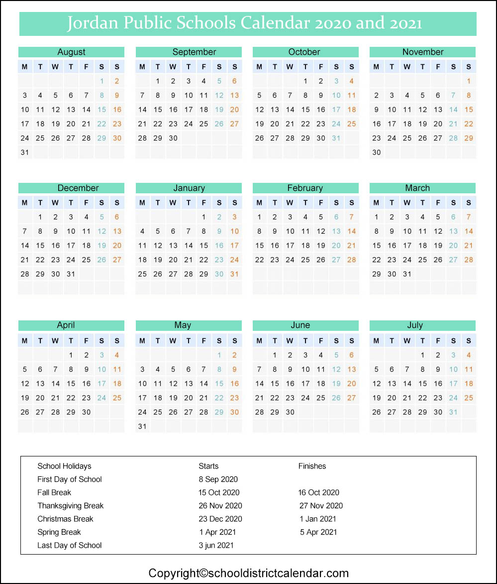 Ut Calendar 2021-22 Jordan School District Calendar Holidays 2020 2021