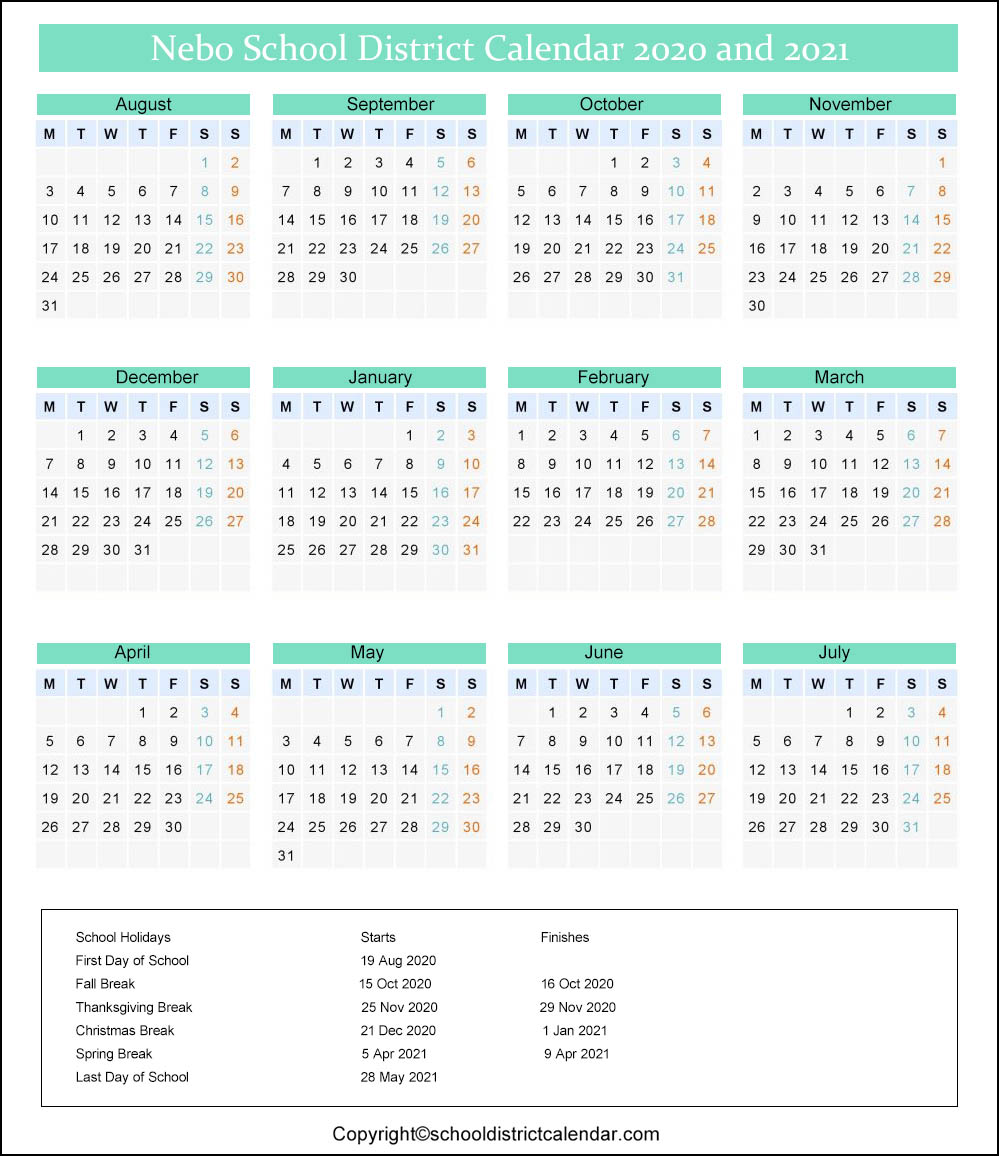 Nebo School District Calendar 2021 Nebo School District Calendar Holidays 2020 2021