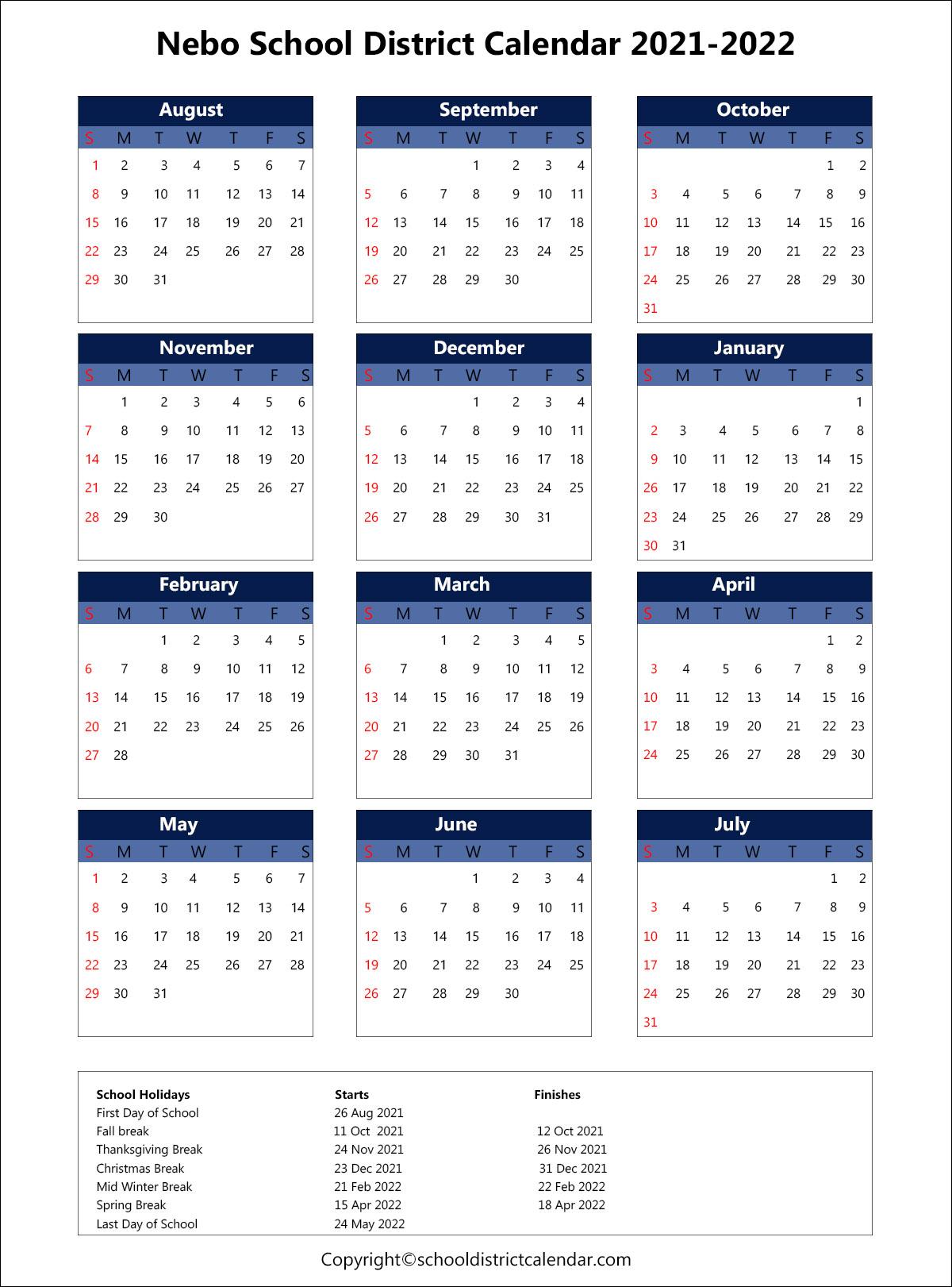 Nebo School District Calendar 2021-22 Nebo School District Calendar Holidays 2021 2022