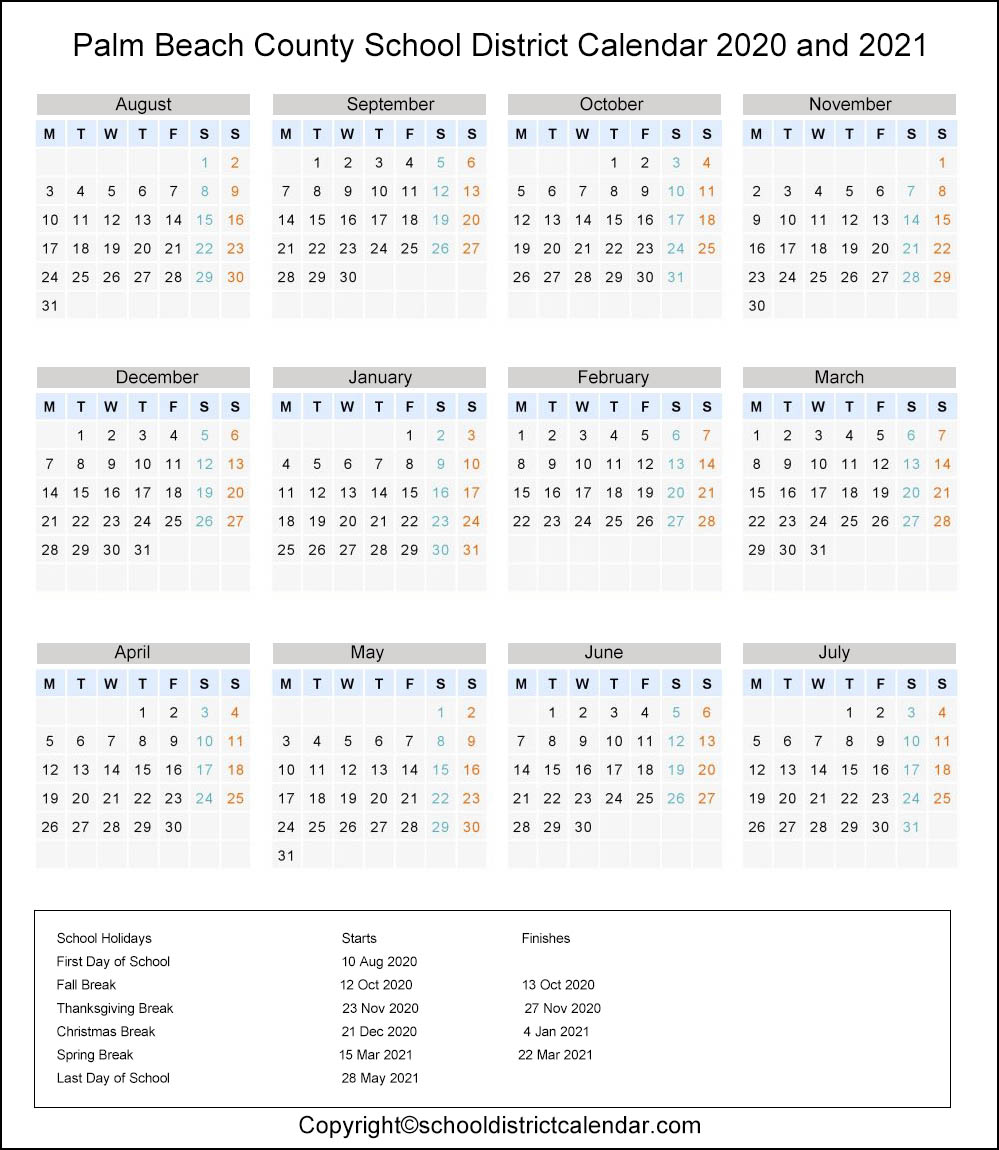 Palm Beach School District, Florida Calendar Holidays 2020