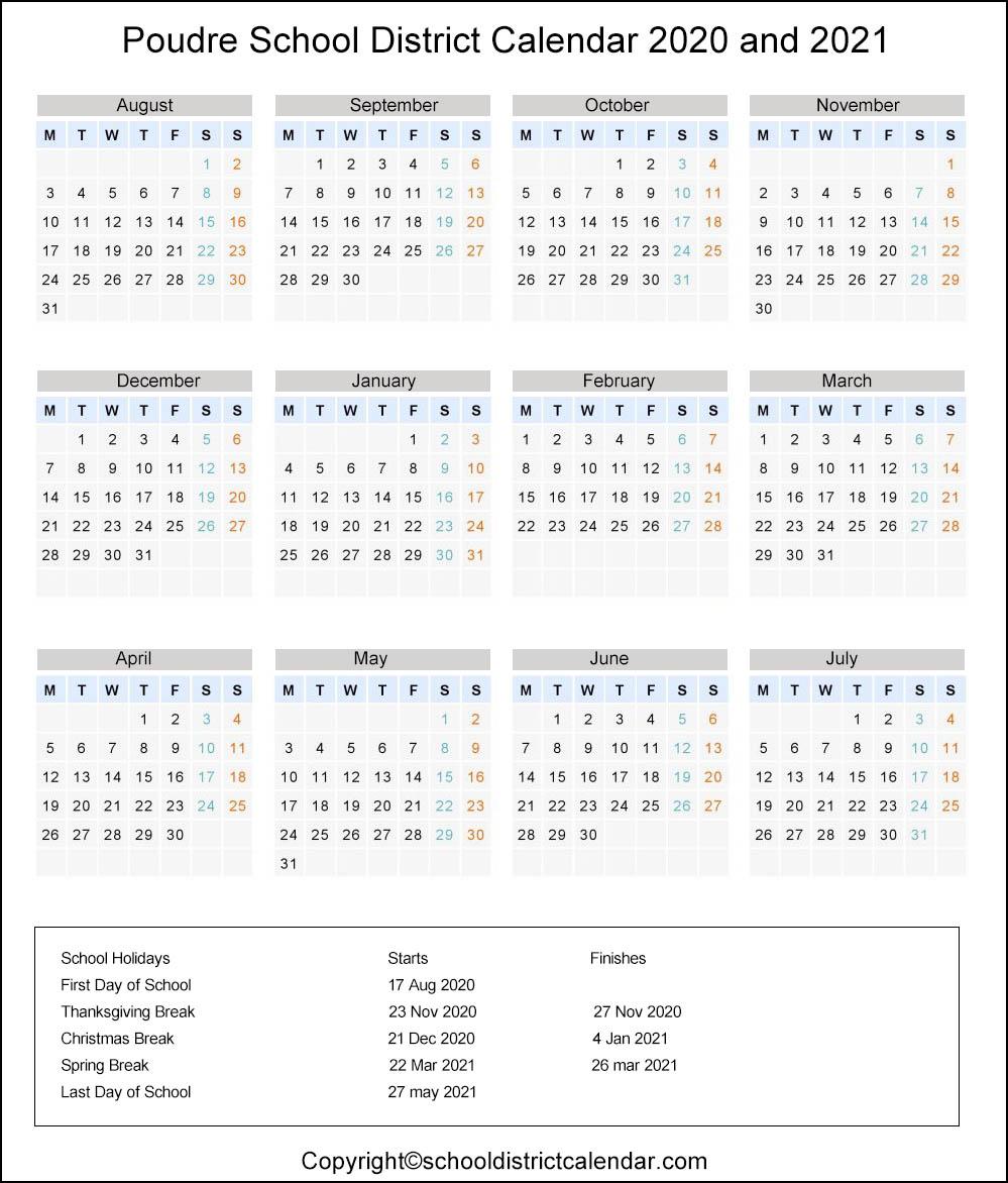 Poudre School District, Colorado Calendar Holidays 2020