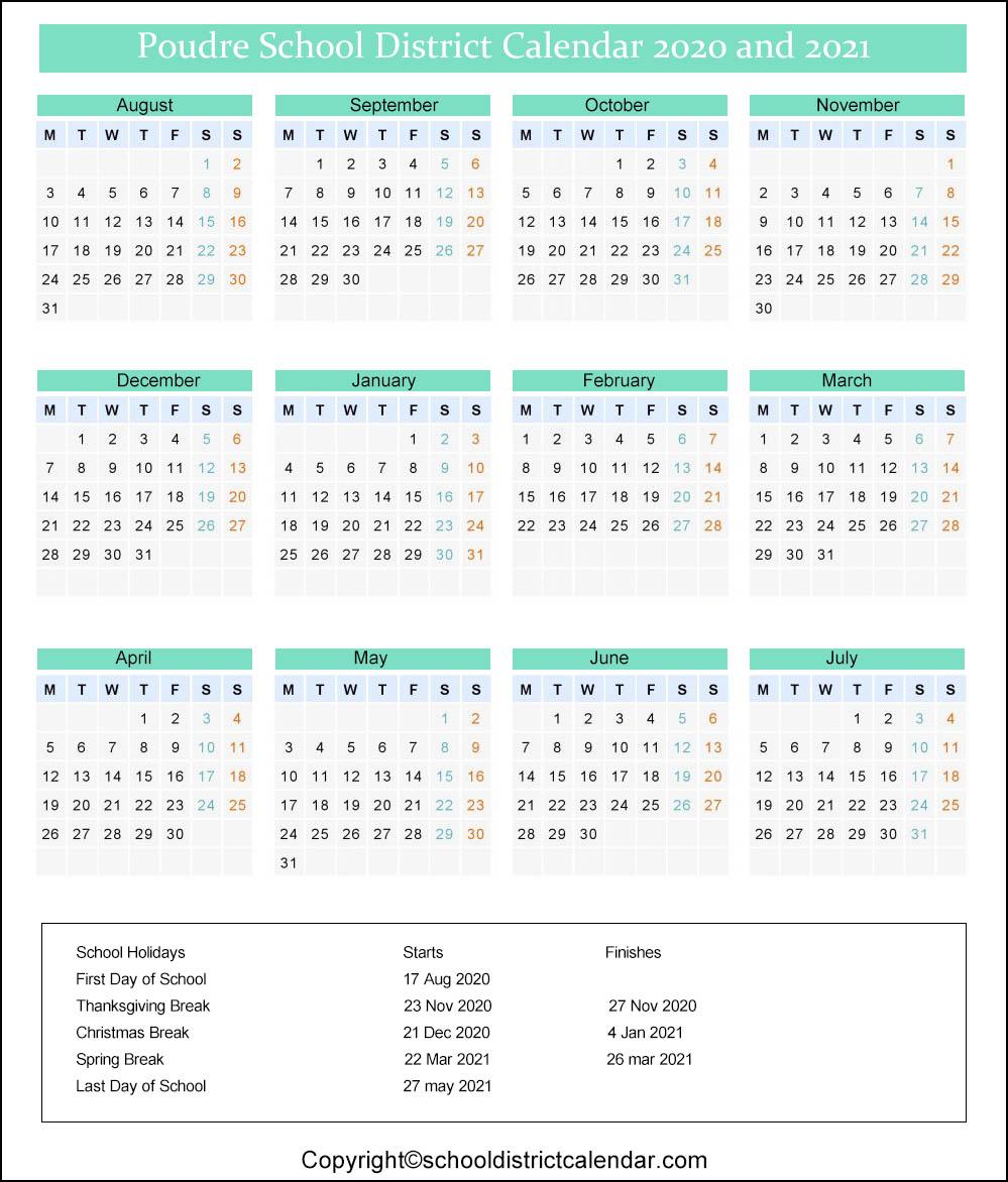 Poudre School District Calendar 2020
