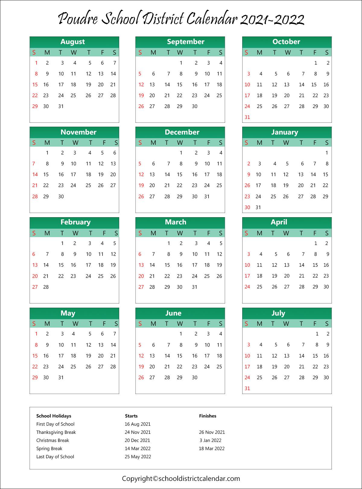 Poudre School District, Colorado Calendar Holidays 2021