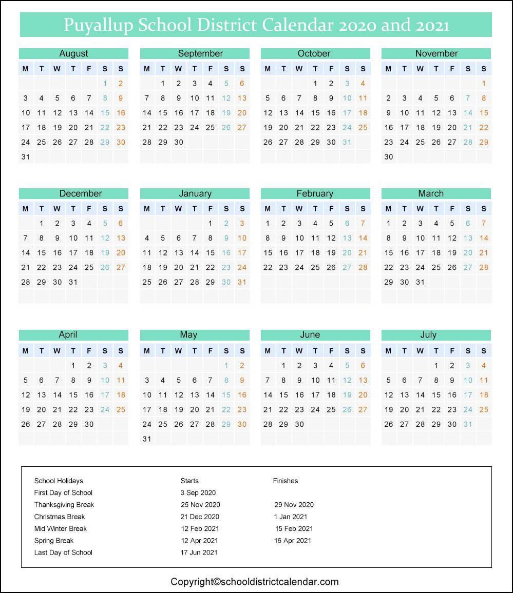 Puyallup School District Calendar 2020