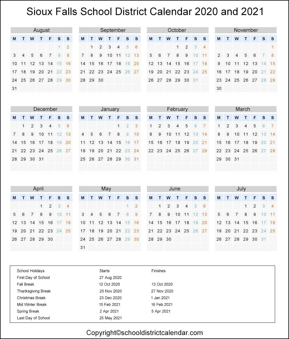 Sioux Falls School District, South Dakota Calendar Holidays 2020