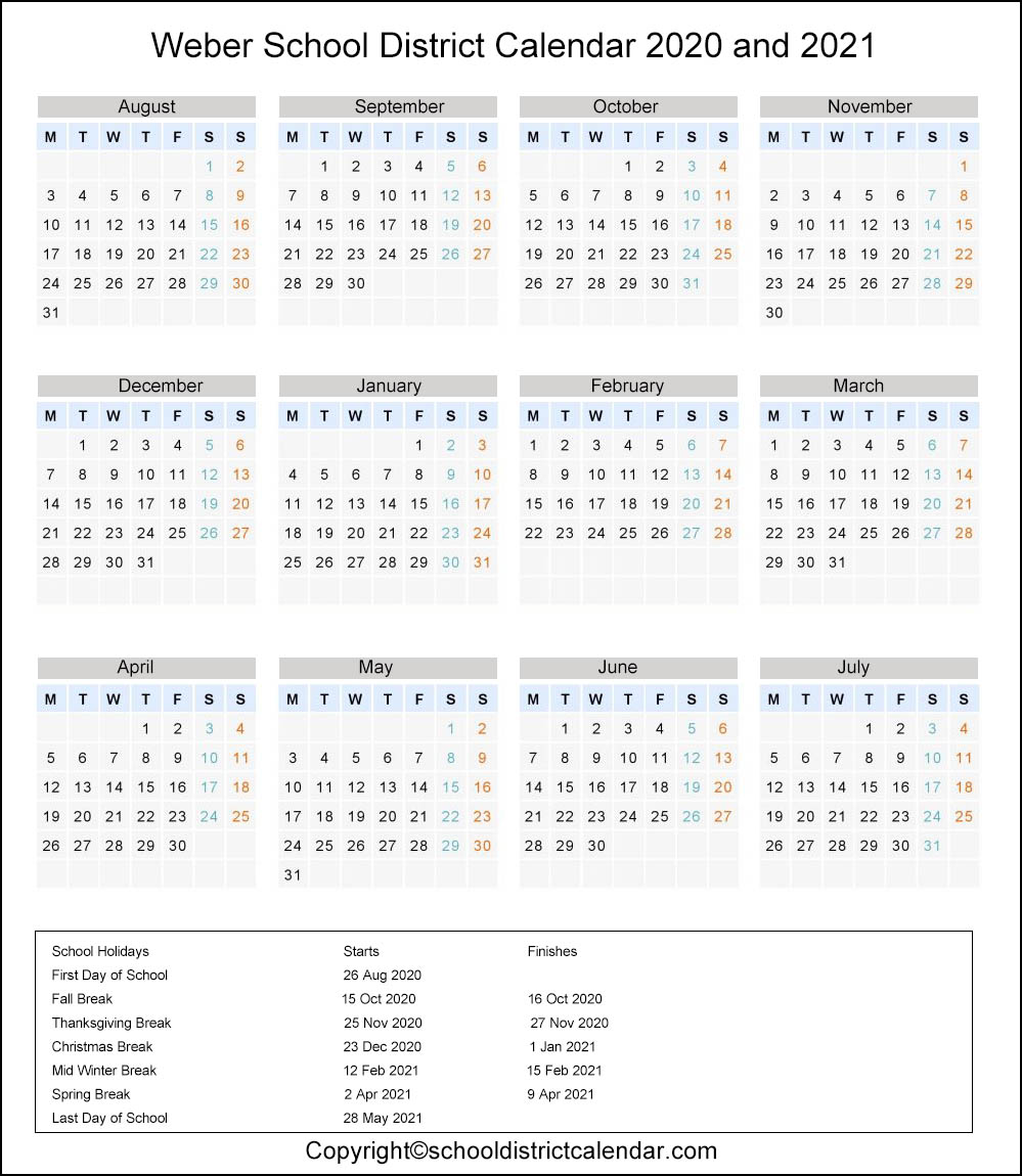 Weber School District, Utah Calendar Holidays 2020