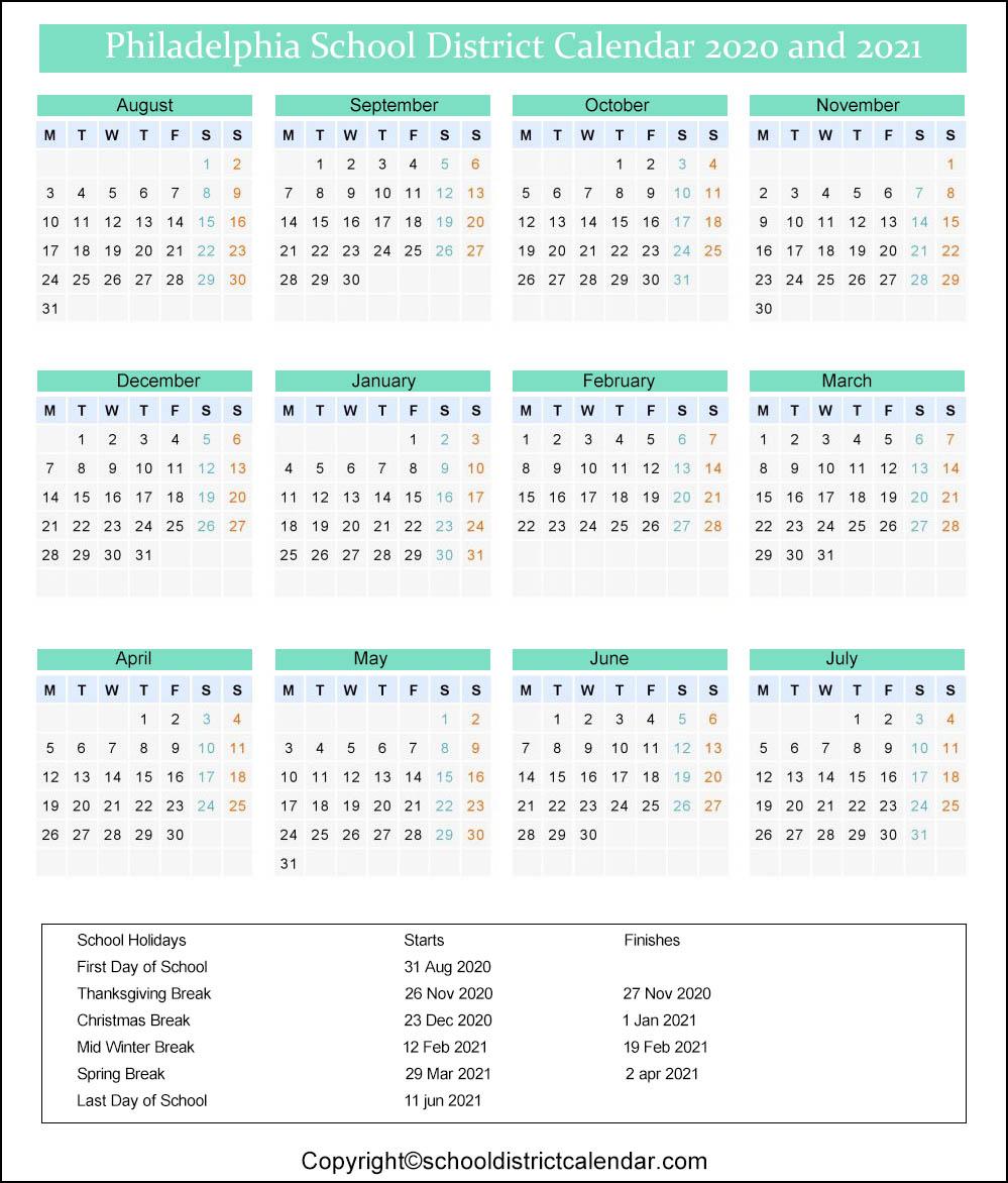 Philadelphia School District Calendar 2020