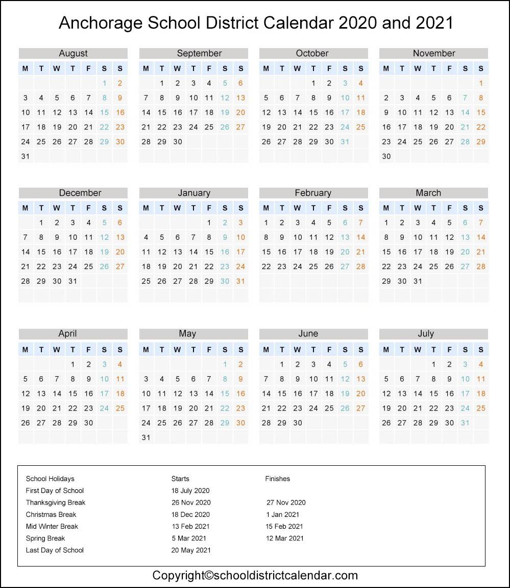 Anchorage School District, Alaska Calendar Holidays 2020