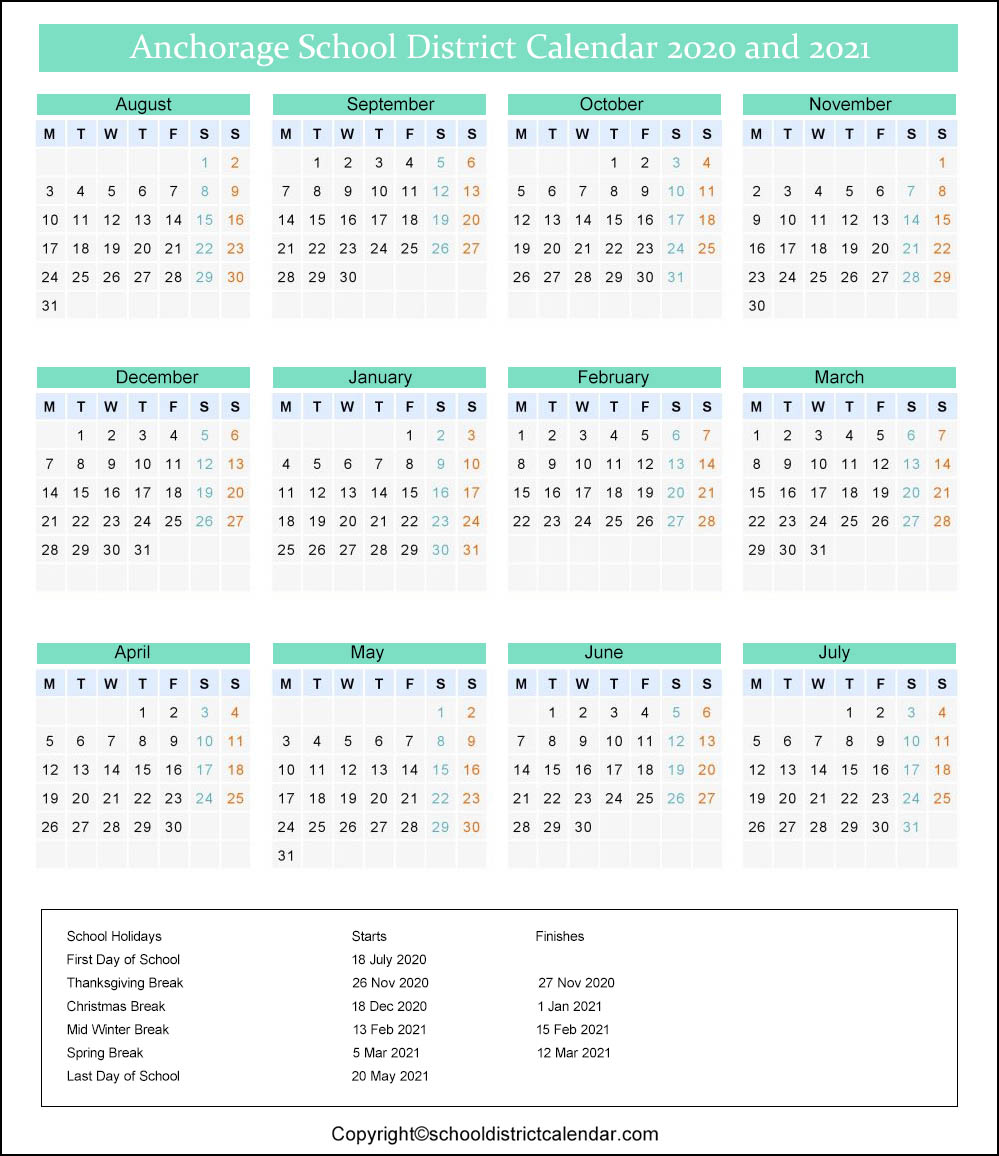 Anchorage School District Calendar 2020