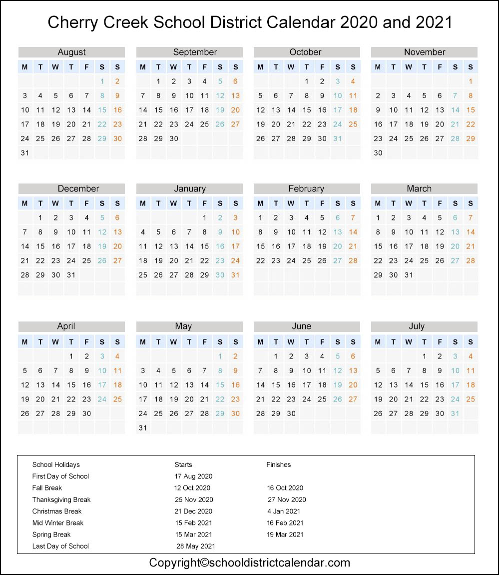 Cherry Creek School District, Colorado Calendar Holidays 2020