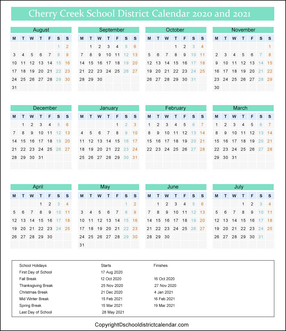 Cherry Creek School District Calendar 2020
