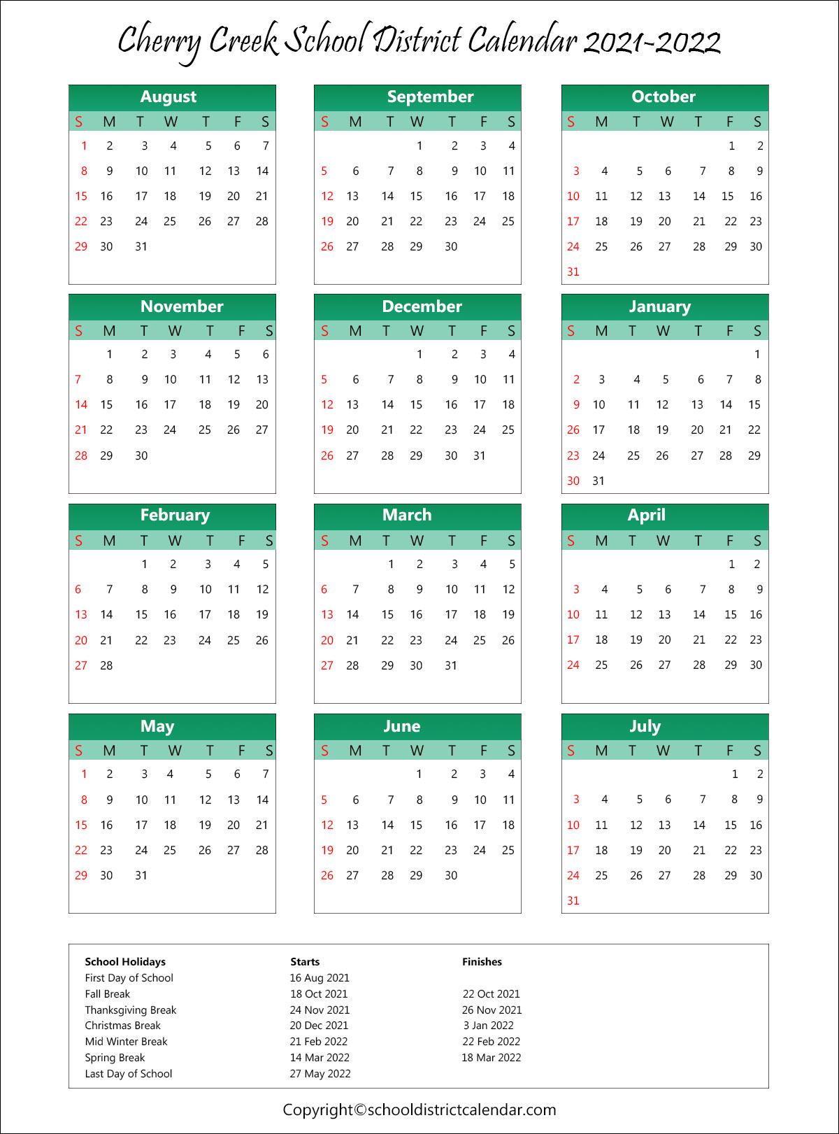 Cherry Creek School Calendar 2021-22 Cherry Creek School District Calendar Holidays 2021 2022
