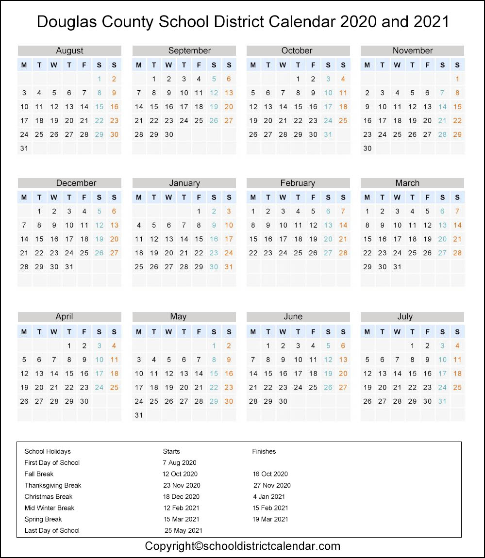 Douglas School District, Georgia Calendar Holidays 2020