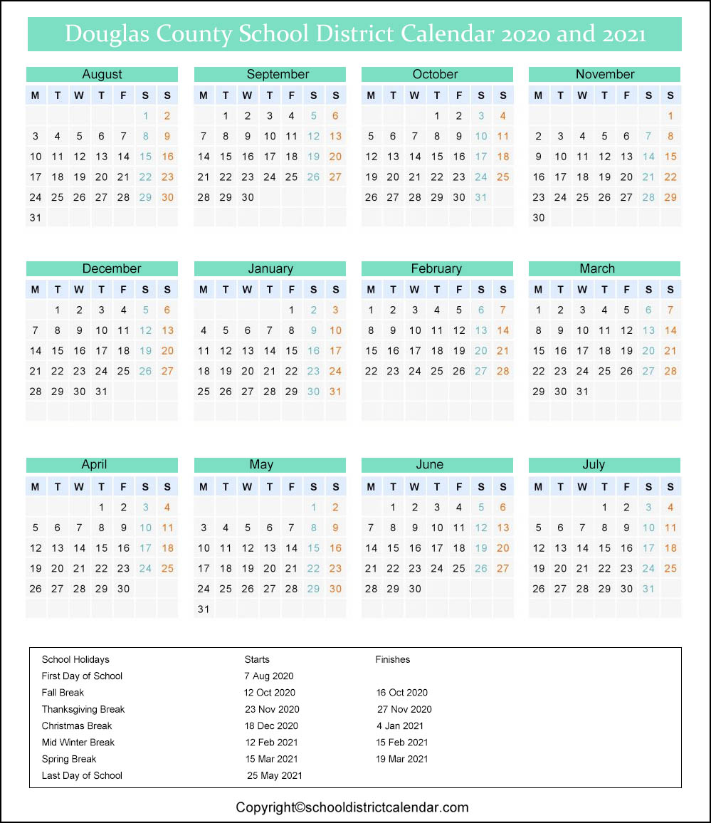 Douglas County School Calendar 2021 Douglas School District Calendar Holidays 2020 2021