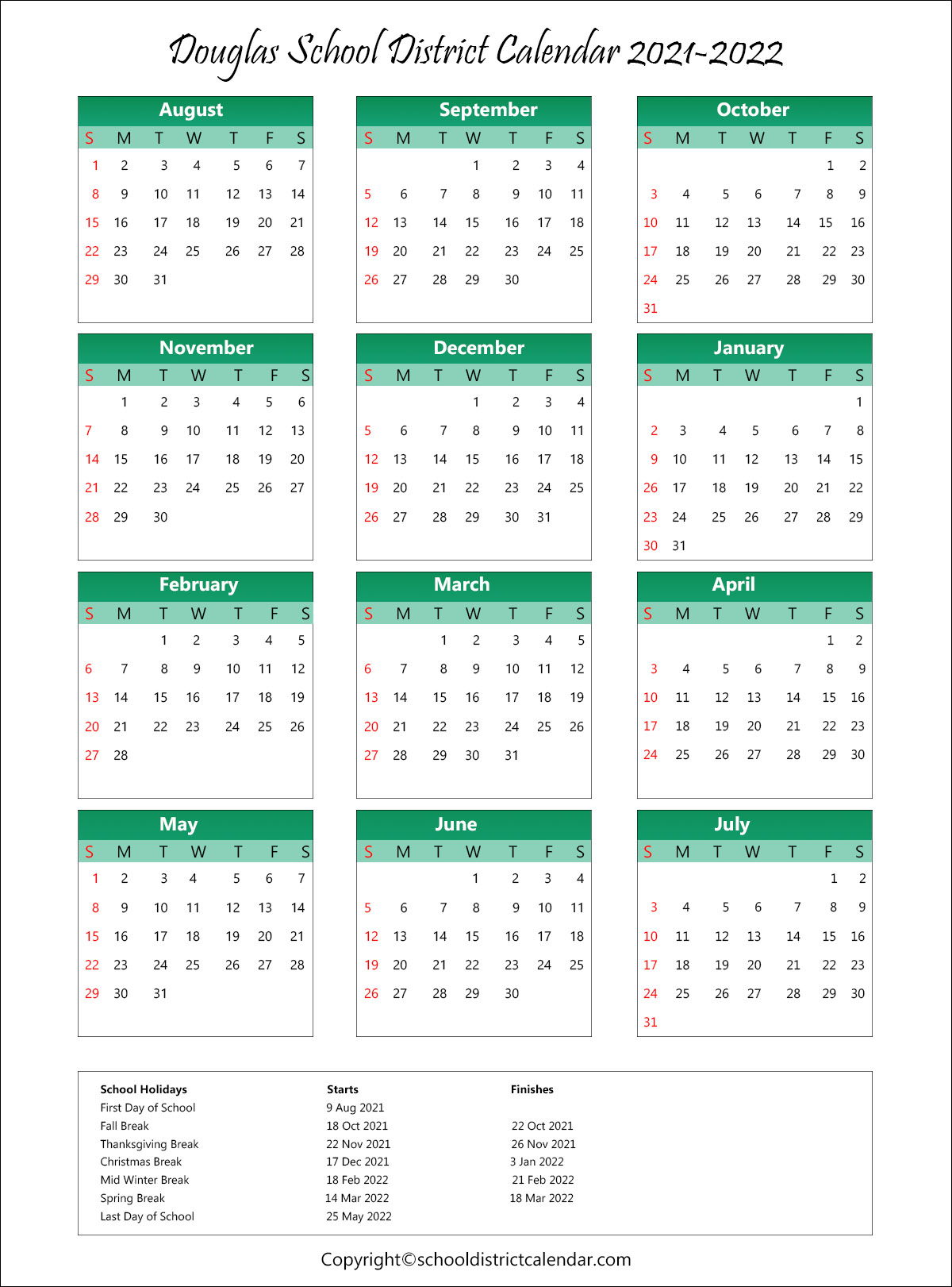 Douglas School District Calendar Holidays 2021 2022