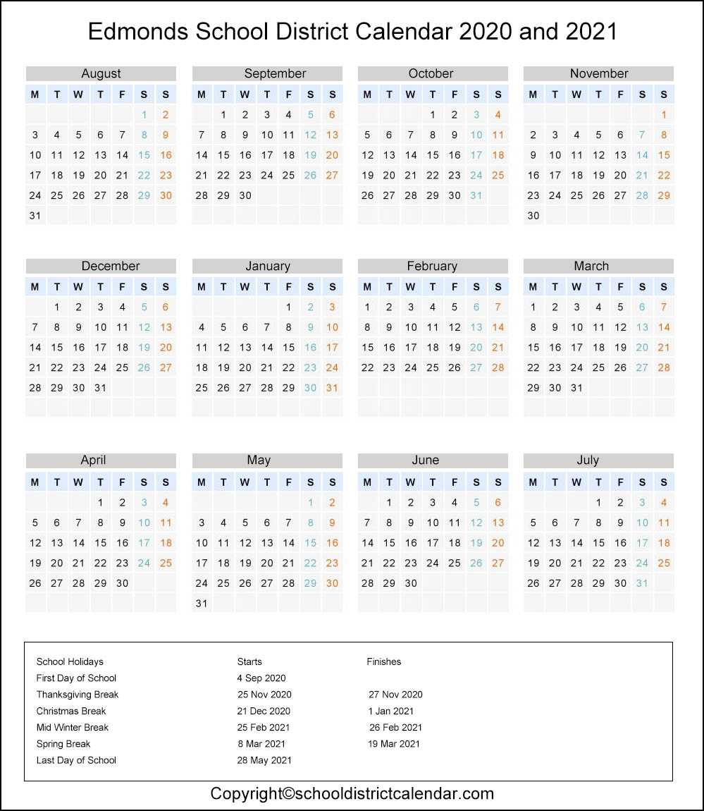 Edmonds School District, Washington Calendar Holidays 2020