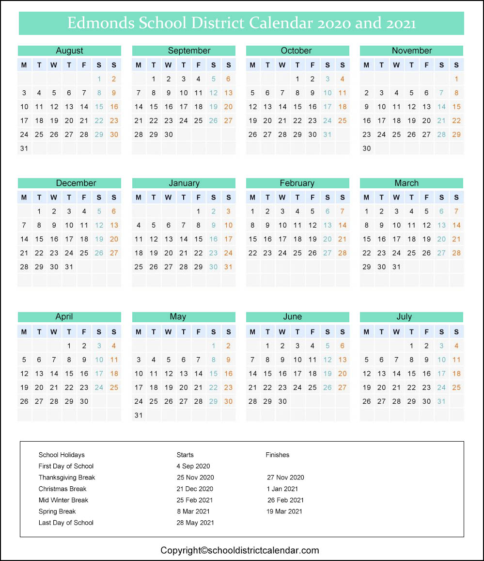 Edmonds School District Calendar 2020
