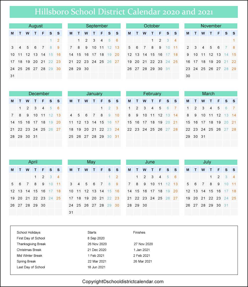Hillsboro School District Calendar 2020