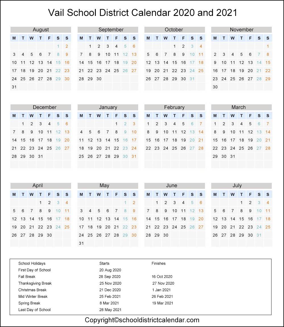 Vail School District, Arizona Calendar Holidays 2020