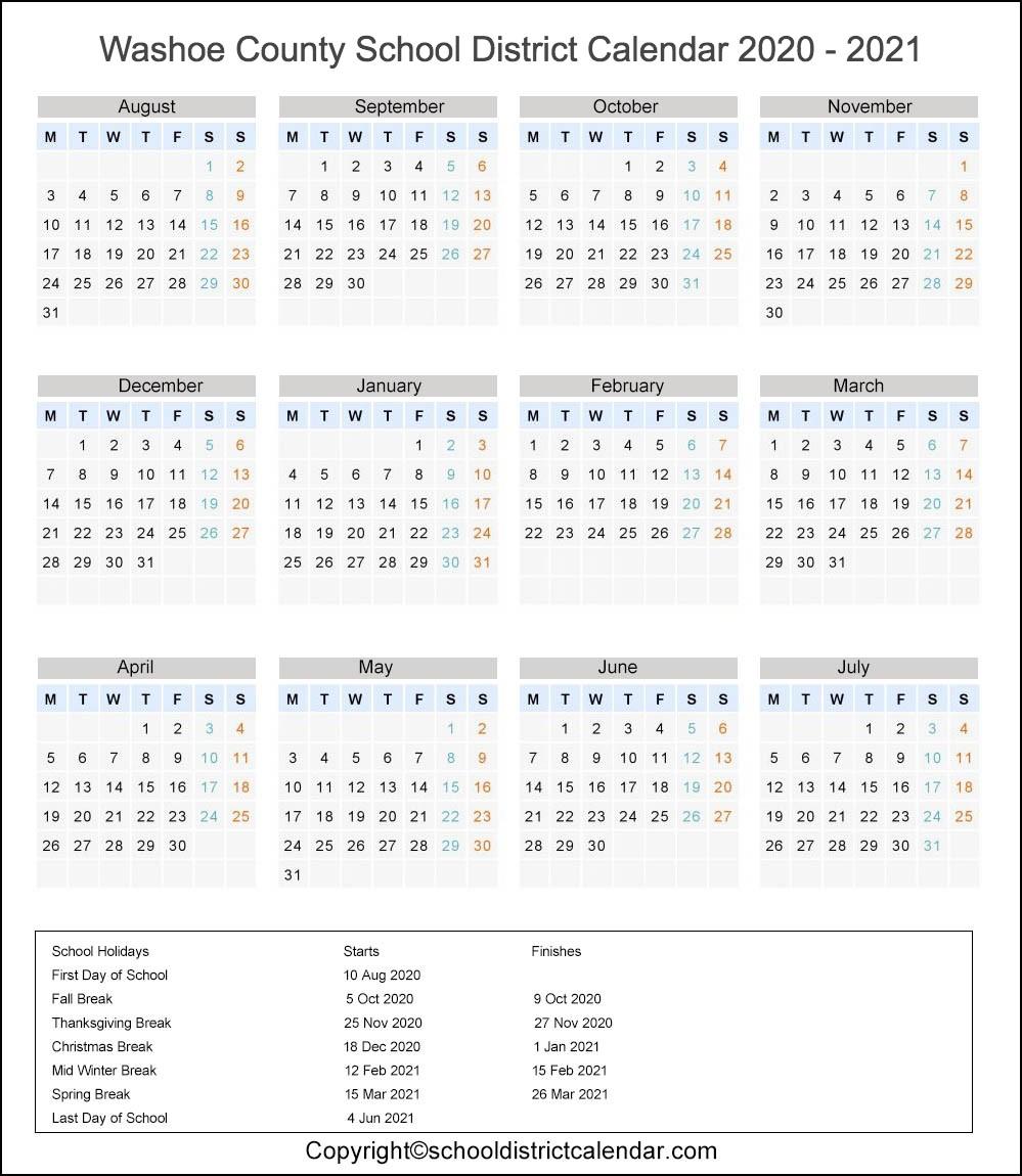 Washoe School District, Nevada Calendar Holidays 2020