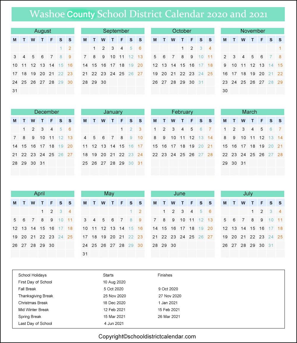 Washoe School District Calendar 2020