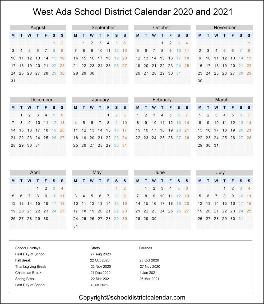 West Ada School District, Idaho Calendar Holidays 2020