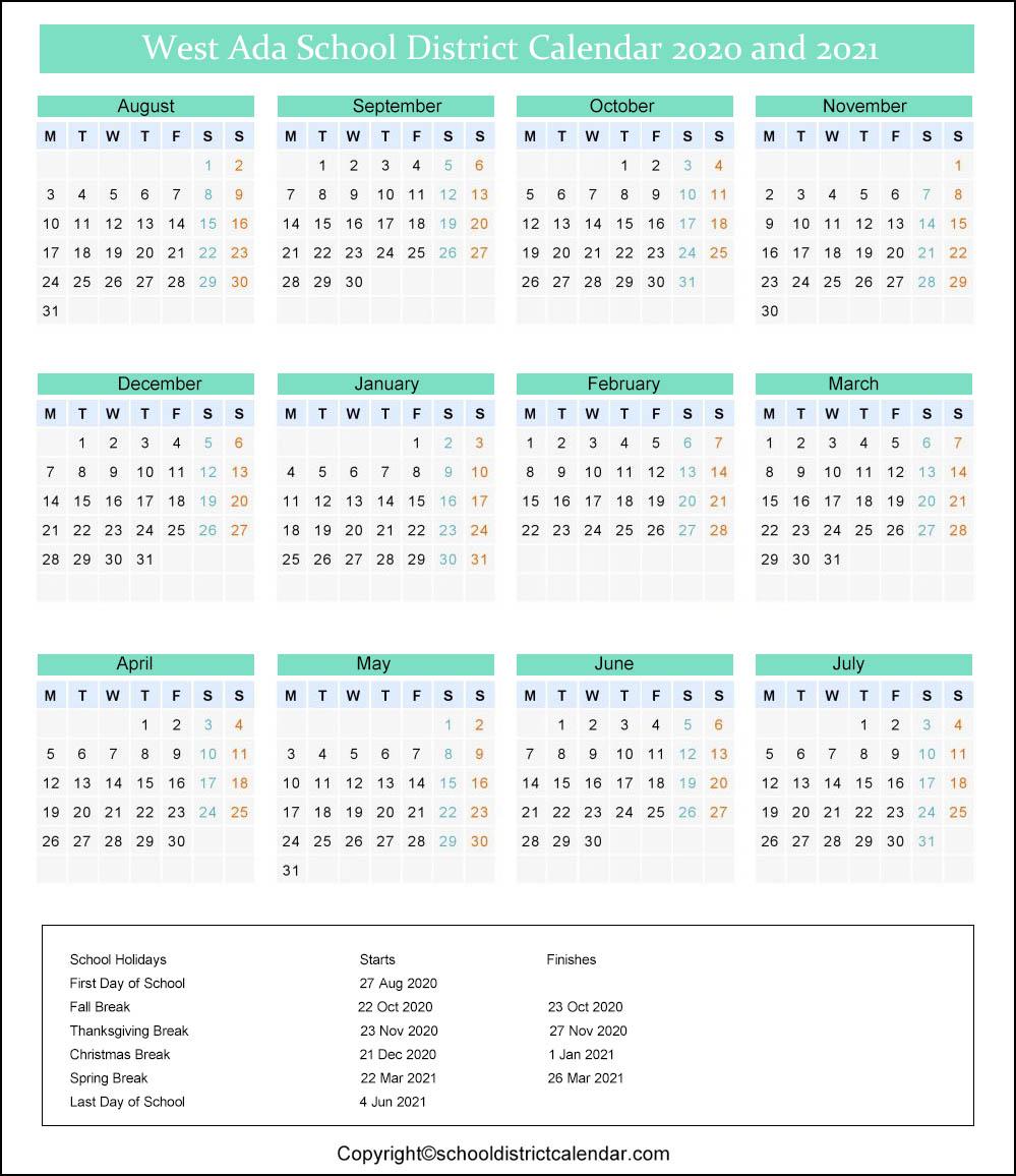 West Ada Calendar 2021 West Ada School District Calendar Holidays 2020 2021