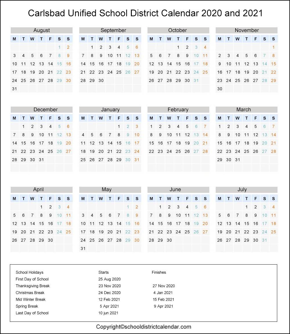Carlsbad Unified School District, California Calendar Holidays 2020