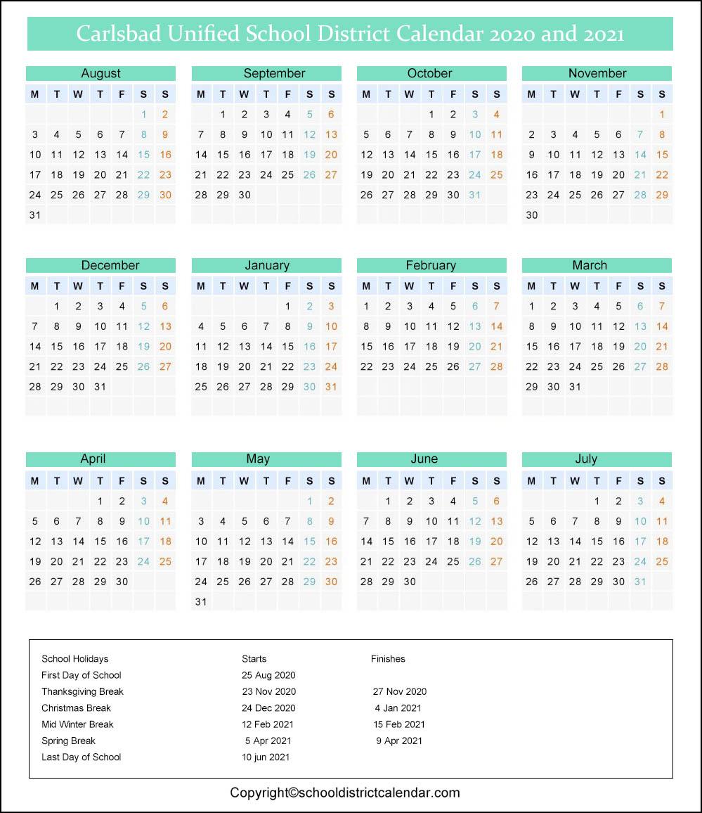 Carlsbad Unified School District Calendar 2020